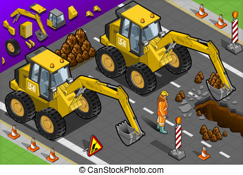 Isometric Yellow Excavator in Front View