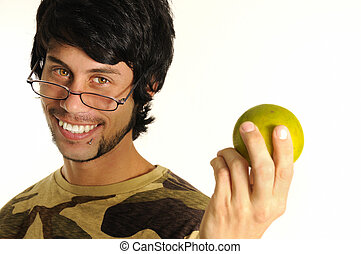 Healthy young man - Portrait of healthy young man holding...