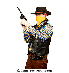 american cowboy with revolver, on white background