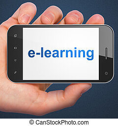 Education concept: E-learning on smartphone - Education...