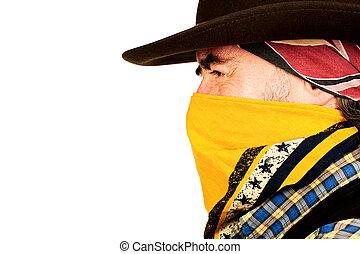 american cowboy closeup - Closeup portrait of american...