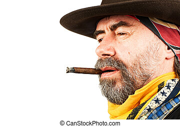 american cowboy smoking cigar - american cowboy, smoking...