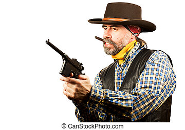 american cowboy smoking cigar - american cowboy with...
