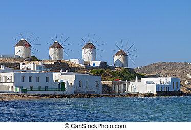 Mykonos island in Greece. - The windmills of Mykonos island...