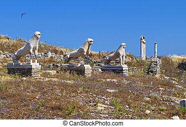 Ancient Delos island in Greece - The ancient terrace of the...