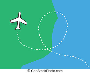 Airplane Trail Loop - Airplane flying over the earth with...