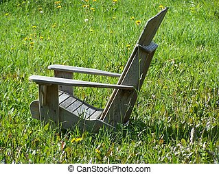 Adirondak chair - Wooden chair on lawn