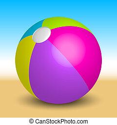 inflatable beach ball on the beach