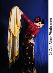 Indian traditional dance - Portrait of young woman dressed...