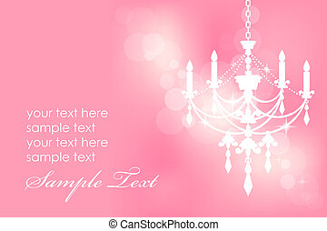 Vector pink card with chandelier