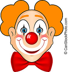 smiling clown with red bow - Vector illustration of smiling...