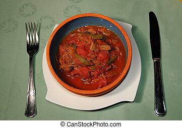 Cuban dish - quot;ropa viejaquot; - Bowl with typical cuban...
