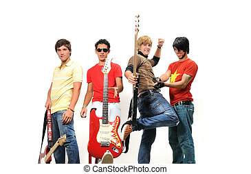 Teen musical band - Portrait of young trendy teenager group...