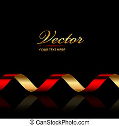 background with red & gold ribbon - Vector background with...