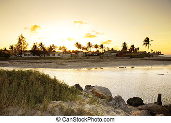 Sunset beach landscape - A view of coastline with rocks and...
