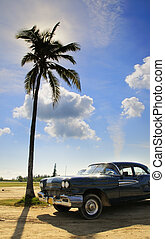 Tropical Oldtimer - A view of vintage classic car and...