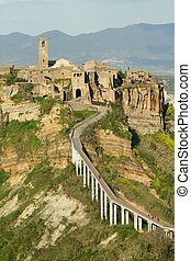 spectacular view of Civita di Bagnoregio , called the dying...