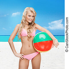 beautiful woman in bikini with beach ball - bright picture...