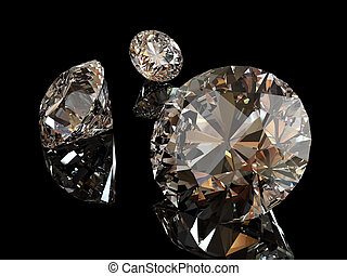Diamonds with reflections isolated on black background....