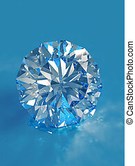 Blue diamond with caustic isolated on blue background...