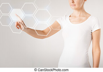 woman hand pressing virtual button - picture of woman hand...
