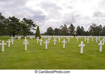 The Normandy American Cemetery - Crosses in the famous...