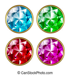 Precious stones - Set of precious stones on a white...