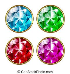 Precious stones - Set of precious stones on a white...