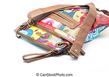 Purse - Bag of leather and color on white background