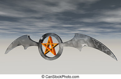 bat wings - ring with batwings and pentagram - 3d...