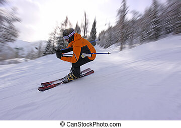 Fast Skiing - A skier tucks around a fast corner