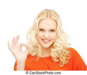 jovem, mulher, mostrando, ok, sinal