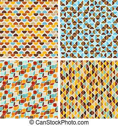 Seamless abstract geometric patterns set.