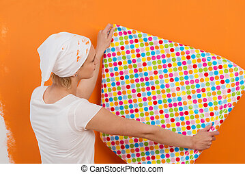 new wallpaper with points - woman holding colorful wallpaper...