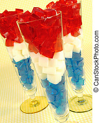 Red, White, and Blue Gelatin - Cubes of red, white, and blue...
