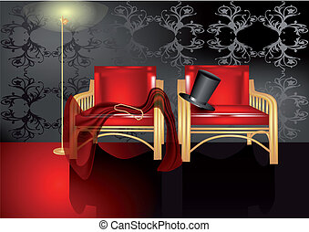 intimate atmosphere. dark room with two chairs