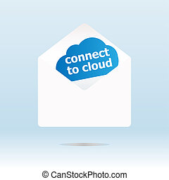 connect to cloud word on blue cloud, mail envelope