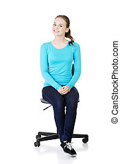 Woman sitting on a wheel chair.