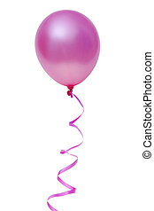 Pink ballon - Pink balloon with ribbon isolated on white...