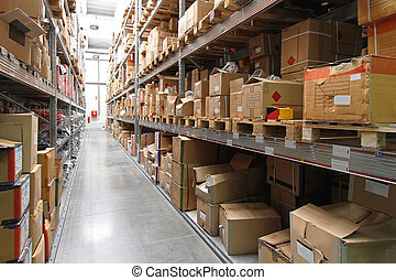 Warehouse shelving - Warehouse shelf with cardboard boxes...