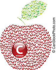 Vitamin C Apple - Red Apple With Vitamin Concept...