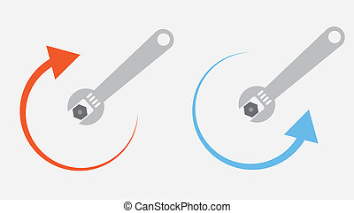 Wrench Tighten Loosen - Isolated wrench tightening or...
