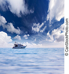 Summer seascape with luxury yacht