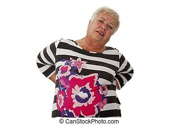 Female senior with backache
