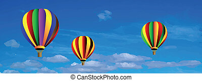 Vector hot air colorful balloon on blue sky with white...
