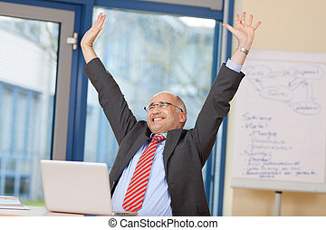 Businessman With Arms Raised Celebrating Victory -...