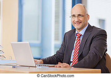 Smiling Businessman With Laptop - Smiling mature businessman...