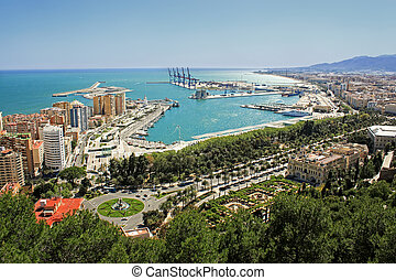 View of Malagas port - Overhead view of Malaga buildings and...