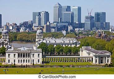 View of Docklands and Royal Naval College in London - The...