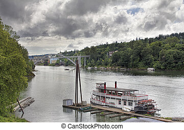 Historic Sternwheeler Docked Along Willamette River in...
